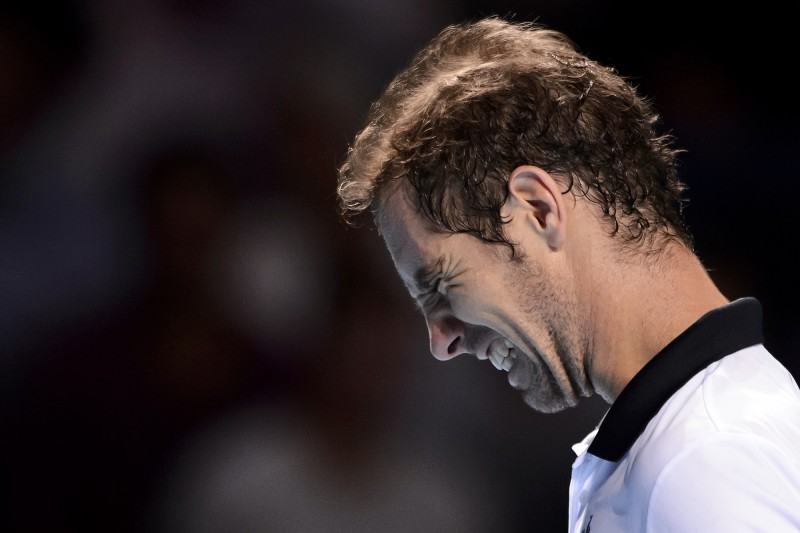 France's Richard Gasquet reacts during his semi-final match against Spain's Rafael Nadal at the Swiss Indoors tennis tournament on October 31, 2015 in Basel, northern Switzerland.  AFP PHOTO / FABRICE COFFRINI