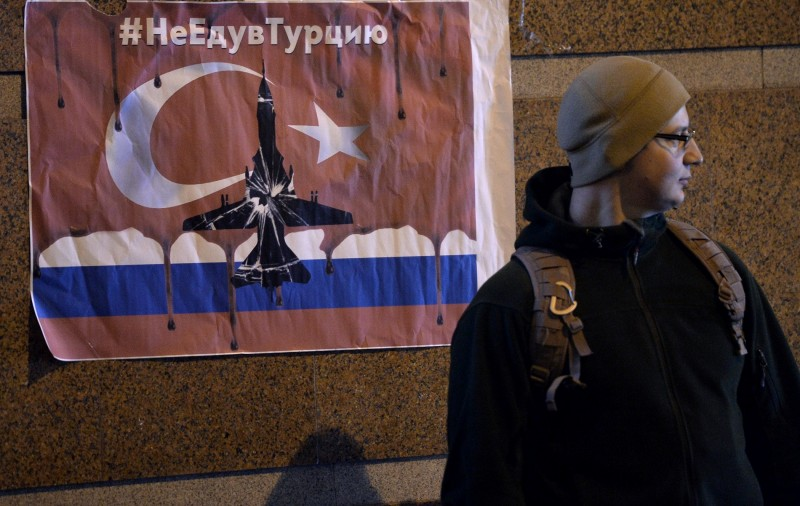 2745613 11/24/2015 A participant of protests outside the Turkish Embassy in Moscow against the Turkish Air Force actions that downed a Russian Su-24 jet. Ramil Sitdikov/Sputnik