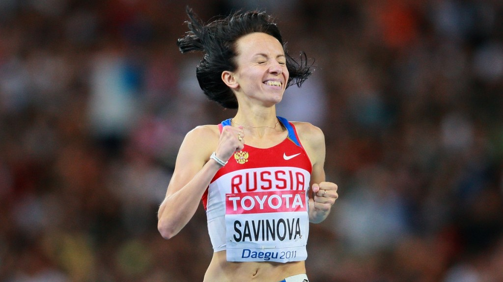 Russian athlete Maria Savinova celebrates her victory in the 800-meters race at the World Championships in Athletics 2011 in Daegu.