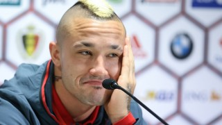 20151112 - BRUSSELS, BELGIUM: Belgium's Radja Nainggolan pictured during a press conference of the Red Devils, the Belgian national soccer team, in Brussels, Thursday 12 November 2015. The team is playing a friendly games against Italy tomorrow in preparation of Euro2016. BELGA PHOTO BRUNO FAHY