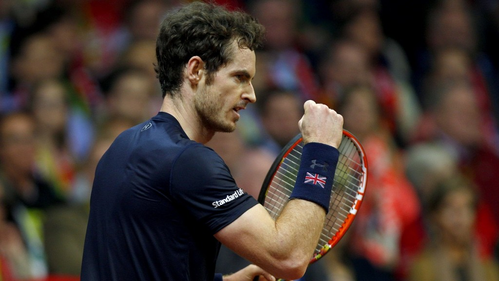 Andy Murray of Great Britain celebrates during the Davis Cup 2015 Final between Belgium and Great Britain on November 29, 2015 played at The Flanders Expo in Ghent, Belgium - Photo Ella Ling / Backpage Images / DPPI