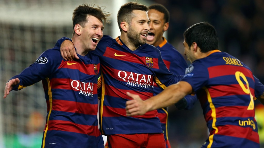 Lionel Messi of FC Barcelona celebrates with Jordi Alba and Luis Suarez after scoring his side's second goalduring the UEFA Champions League, Group E, football match between FC Barcelona and AS Roma on November 24, 2015 at Camp Nou stadium in Barcelona, Spain. Photo: Manuel Blondeau/AOP Press/DPPI