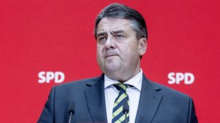 BERLIN, GERMANY - NOVEMBER 12: Leader of the Social Democratic Party and the Vice Chancellor of Germany Sigmar Gabriel holds a press conference at SPD headquarters in Berlin, Germany on November 12, 2012. Mehmet Kaman / Anadolu Agency