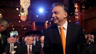 BERLIN, GERMANY - MAY 08:  Hungarian Prime Minister Viktor Orban arrives at the Europaforum gathering of German broadcaster WDR at the Foreign Ministry on May 8, 2014 in Berlin, Germany. Orban, whose policies have drawn widespread criticism from other European Union member states as undemocratic and right-wing, is scheduled to meet with Chancellor Merkel later today.  (Photo by Sean Gallup/Getty Images)