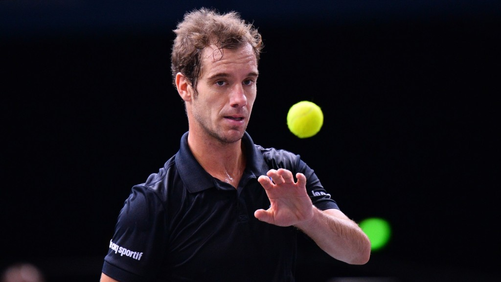 PARIS, FRANCE - NOVEMBER 05: Richard Gasquet of France reacts during the match against Kei Nishikori of Japan at the BNP Paribas 2015 Masters tennis tournament at the Accor Hotels Arena in Paris, France on November 05, 2015. (Photo by Mustafa Yalcin/Anadolu Agency/Getty Images)