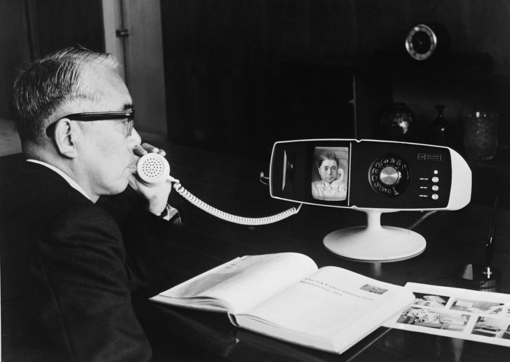 The Toshiba company's new videophone, the Model 500 View Phone, being tested at the company's Tokyo headquarters, 6th May 1968. (Photo by Keystone/Hulton Archive/Getty Images)