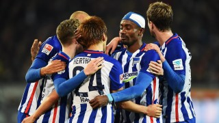 of Berlin is challenged by of Hannover during the Bundesliga match between Hannover 96 and Hertha BSC at HDI-Arena on November 6, 2015 in Hanover, Germany.