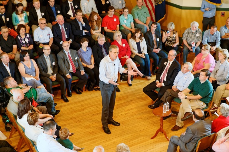 UNITED STATES, Derry: Former Florida Governor Jeb Bush addresses the crowd at a town hall meeting on June 16, 2015 at the Adams Memorial Opera House in Derry, New Hampshire, one day after he announced he was seeking the 2016 GOP nomination for President of the United States of America. - CITIZENSIDE/MICHAEL VADON
