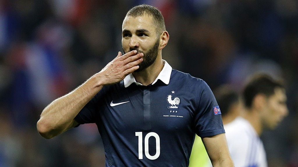 France's forward Karim Benzema celebrates after scoring a goal during the friendly football match between France and Armenia on October 8, 2015 at the Allianz Riviera stadium in Nice, southeastern France. AFP PHOTO / VALERY HACHE
