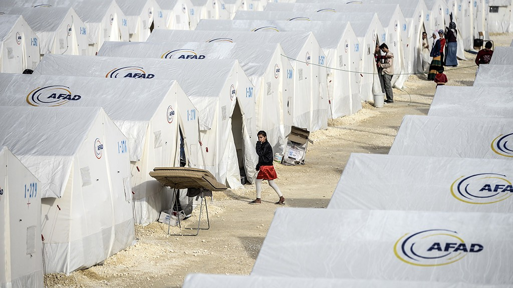 A general view of a refugee camp for Syrian Kurdish refugees on February 2, 2015, at Suruc, in Sanliurfa. AFP PHOTO/BULENT KILIC / AFP / BULENT KILIC