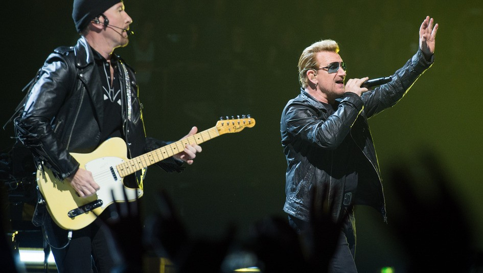 PARIS, FRANCE - NOVEMBER 10:  Bono and The Edge from U2 perform at AccorHotels Arena on November 10, 2015 in Paris, France.  (Photo by David Wolff - Patrick/Redferns)