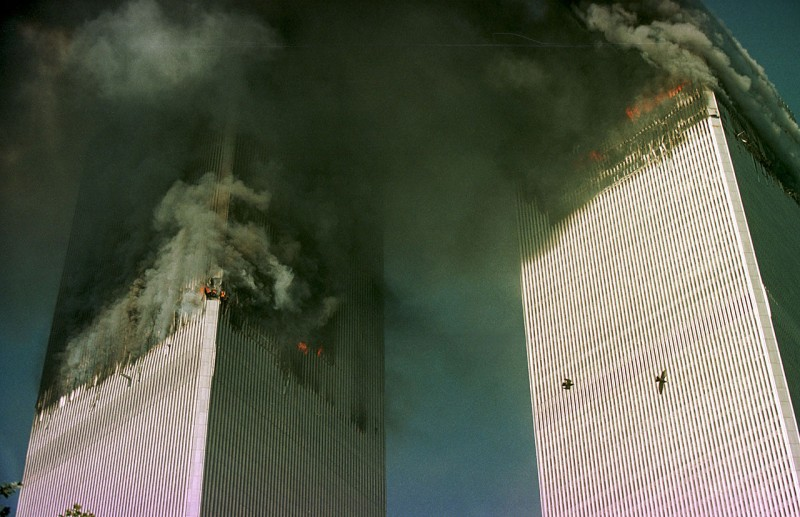 NEW YORK - SEPTEMBER 11: The World Trade Center is engulfed in flames just before the south tower collapsed September 11, 2001 in New York City. (Photo by Thomas Nilsson/ Getty Images)