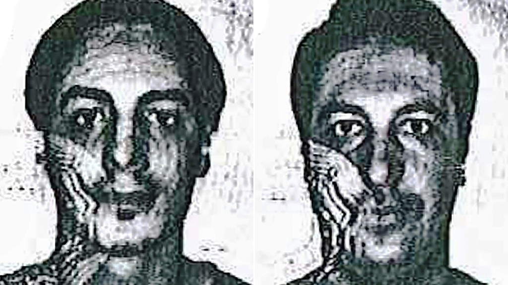 """(COMBO) This combination pictures created on December 4, 2015 from two handout images released the same day by the Belgian police shows two men being searched for by the Belgian police as part of the investigation into the November 13 Paris attacks. Belgium on December 4, 2015 said it was searching for two """"armed and dangerous"""" but unidentified suspects who used false ID papers to help wanted Paris attacks suspect Salah Abdeslam travel to Hungary in September. / AFP / BELGIAN POLICE / HANDOUT / RESTRICTED TO EDITORIAL USE - MANDATORY CREDIT """"AFP PHOTO / BELGIAN POLICE"""" - NO MARKETING NO ADVERTISING CAMPAIGNS - DISTRIBUTED AS A SERVICE TO CLIENTS"""