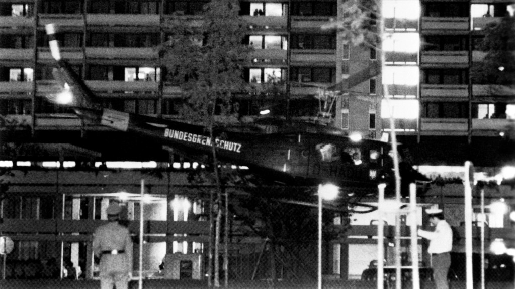 "An army helicopter with arab guerillas and hostages takes off from the Olympic village for Fürstenfeldbruck Air Base, on September 05, 1972 in Munich. Palestinian terrorists of the ""Black September"" group had stormed the Israeli athletes quarters, during the Munich 1972 Olympic Games, killed two and took nine other members of the Israeli Olympic team hostages before a failed freeing action of the German police forces on the Fuerstenfeldbruck airport near Munich on September 06, leaving all hostages, five of the Palestinian kidnappers and a German policeman dead. / AFP / EPU / -"