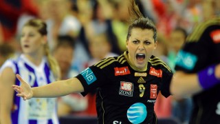 Larvik's Nora Mork celebrates her score during the final match of the EHF Women's Champions League Final Four competition of Norway's Larvik HK vs Montenegro's Budocnost at the Papp Laszlo Arena in Budapest on May 10, 2015.     AFP PHOTO / ATTILA KISBENEDEK / AFP / ATTILA KISBENEDEK