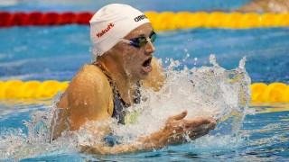 Hungaria's Katinka Hosszu competes in the final of the women's 400m individual medley swimming event at the 18th European Short Course Championships in the Israeli Coastal city of Netanya on December 2, 2015. AFP PHOTO / JACK GUEZ / AFP / JACK GUEZ
