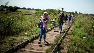Migrants and refugees walk down a railroad track towards the Hungarian border near the northern Serbian town of Horgos on August 27, 2015. As Hungary scrambles to ramp up defences on its border with Serbia, refugees continued to surge into the country in record numbers, police figures confirmed.  AFP PHOTO / ANDREJ ISAKOVIC / AFP / ANDREJ ISAKOVIC