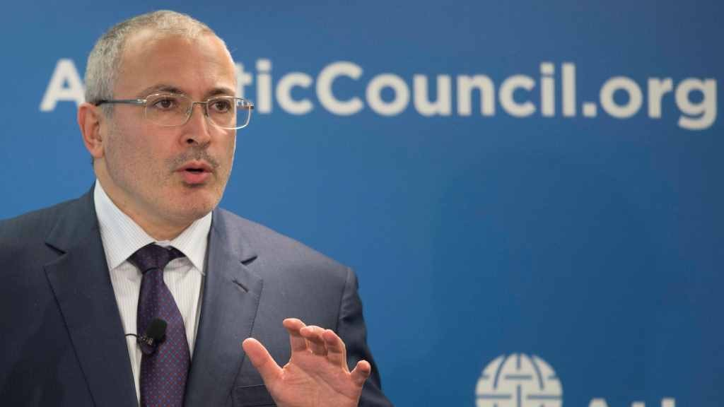 "Mikhail Khodorkovsky, founder of Open Russia, speaks on ""Russia's Strategic Interest with the West,"" at the Atlantic Council in Washington, DC, June 17, 2015. Prior to his arrest in 2003, Khodorkovsky, one of Kremlin's most prominent critics, was the head of Yukos, one of Russia's largest oil producers, and an increasingly outspoken critic of corruption in Russia. Khodorkovsky was arrested, charged with fraud and tax evasion, and sentenced to nine years in prison, prolonged to eleven after the second trial. Khodorkovsky, who was declared a prisoner of conscience by Amnesty International, was released in December 2013 prior to the Sochi Olympics. In 2014, Khodorkovsky relaunched Open Russia, a nongovernmental organization aiming to unite pro-European Russians to promote a strong civil society.  AFP PHOTO/JIM WATSON / AFP / JIM WATSON"