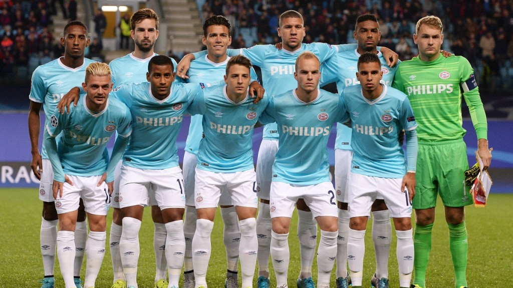 2709600 09/30/2015 PSV Eindhoven players pose for a group photo before the UEFA Champions League's group round match between CSKA Moscow and PSV Eindhoven. 1st row, from left: Maxime Lestienne, Luciano Narsingh, Santiago Arias, Jorrit Hendrix, and Adam Maher. 2nd row, from left: Joshua Brenet, Davy Propper, Hector Moreno, Jeffrey Bruma, Jurgen Locadia, and Jeroen Zoet. Alexey Filippov/RIA Novosti