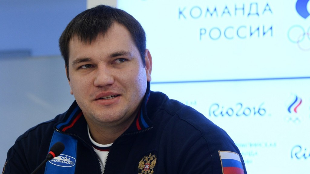 2749585 12/01/2015 Russian weightlifter Alexei Lovchev at a Moscow news conference by the Russian Weightlifting Federation. Maksim Blinov/Sputnik