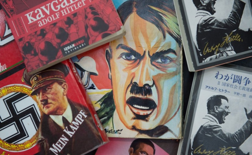 ILLUSTRATION - Editions of Adolf Hitler's book 'My Battle' in various languages lie next to each other in Weimar, Germany, 31 August 2015. The piece 'Mein Kampf, Band 1 & 2' ('My Battle') of the Berlin theatre group 'Rimini Protokoll' premieres 3 September 2015 at the Art Festival in Weimar. PHOTO: SEBASTIAN KAHNERT/dpa