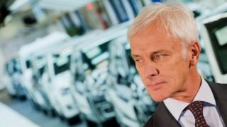 Matthias Mueller, CEOof Volkswagen AG, stands after a tour in the Volkswagen plant in Wolfsburg, Germany, 21 October 2015. Photo:JULIANSTRATENSCHULTE/dpa