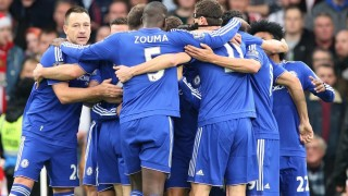 Chelsea group hug after 2nd goal during the English championship Premier League football match between Chelsea and Sunderland on December 19, 2015 played at Stamford Bridge in London, England. Photo Backpage Images / DPPI