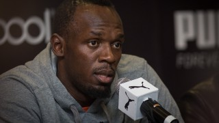 MEXICO CITY, MEXICO - OCTOBER 07:  Jamaican Sprinter and olympic champion Usain Bolt attends a press conference after attending a promotional event for Puma at a department store in Mexico City, Mexico on October 07, 2015. Manuel Velasquez / Anadolu Agency