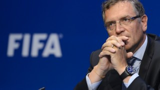 (FILES) This file photo taken on May 30, 2015 shows FIFA general secretary Jerome Valcke during a press conference following the 65th FIFA Congress in Zurich, Switzerland. Nine-year suspension were required on January 5, 2015 by the Internal Justice Fifa against Jerome Valcke, General Secretary of FIFA, removed from office since September. Valcke,suspended since October 8, has been accused by the British press to be involved in a case ticket resale on the black market at the World Cup 2014 in Brazil. A fine of 100,000 Swiss francs was also required against him. / AFP / FABRICE COFFRINI
