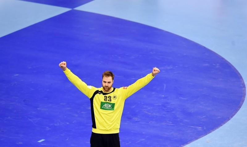 Germany's goalkeeper Andreas Wolff celebrates during the final match of the Men's 2016 EHF European Handball Championship between Germany and Spain in Krakow on January 31, 2016.  / AFP / JANEK SKARZYNSKI