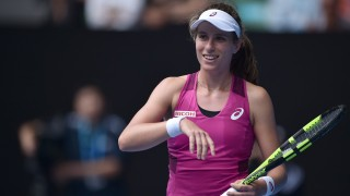 Britain's Johanna Konta gestures during her women's singles match against China's Zhang Shuai on day ten of the 2016 Australian Open tennis tournament in Melbourne on January 27, 2016. AFP PHOTO / PETER PARKS-- IMAGE RESTRICTED TO EDITORIAL USE - STRICTLY NO COMMERCIAL USE / AFP / PETER PARKS