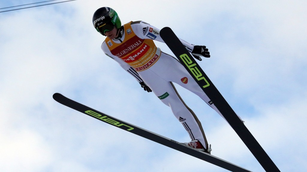 Peter Prevc of Slovenia soars through the air during the second stage of the Four Hills ski jumping tournament in Garmisch-Partenkirchen, Germany, 01 January 2016. Photo: FREDRIKVONERICHSEN/dpa