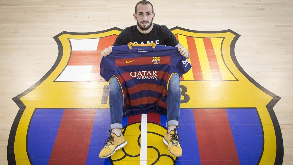 SANT JOAN DESPI, SPAIN - DECEMBER 30: Aleix Vidal poses with a Barcelona jersey prior to his registration after the end of the FIFA sanction to the FC Barcelona, in Sant Joan Despi, Spain on December 30, 2015. Barcelona can call on Arda Turan and Aleix Vidal for the first time after a Fifa-imposed ban on the club registering new players as they seek to breach Espanyol's resilient defence in the Copa del Rey on Wednesday. Albert Llop  / Anadolu Agency