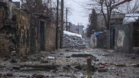SIRNAK, TURKEY - JANUARY 07: A barricade set up by the PKK terrorists is seen on a street as Turkish Security Forces patrol on the streets after they carried out a successful anti- terror operation against terrorist organization PKK in Cizre district of Turkey's south-eastern province Sirnak on January 07, 2016. Stringer / Anadolu Agency