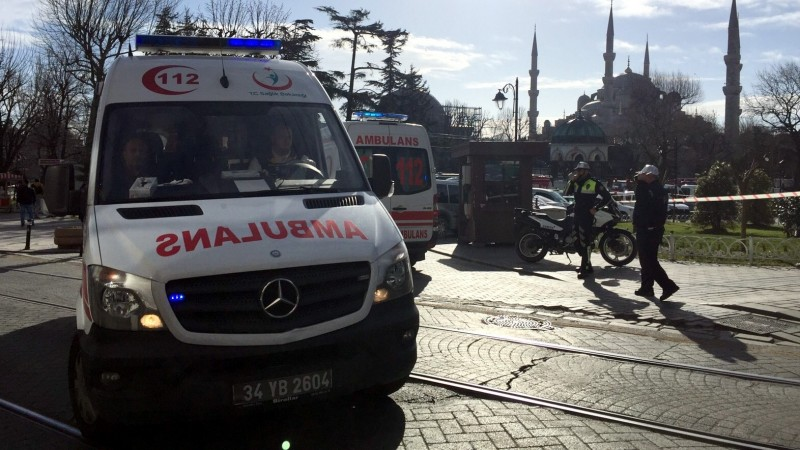 ISTANBUL, TURKEY - JANUARY 12: Ambulances gather around Sultanahmet tourist district after an explosion in Istanbul, Turkey on January 12, 2016. Turkish police have sealed off central Istanbul square in historic Sultanahmet district after the explosion was heard. Ambulances raced to the scene in the minutes after the explosion.  Veli Gurgah / Anadolu Agency