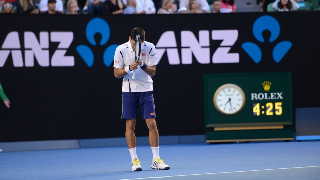 MELBOURNE, AUSTRALIA - JANUARY 24: Novak Djokovic of Serbia is seen during his men's singles fourth round match against Gilles Simon of France during day seven of the 2016 Australian Open at Melbourne Park on January 24, 2016 in Melbourne, Australia. Recep Sakar / Anadolu Agency