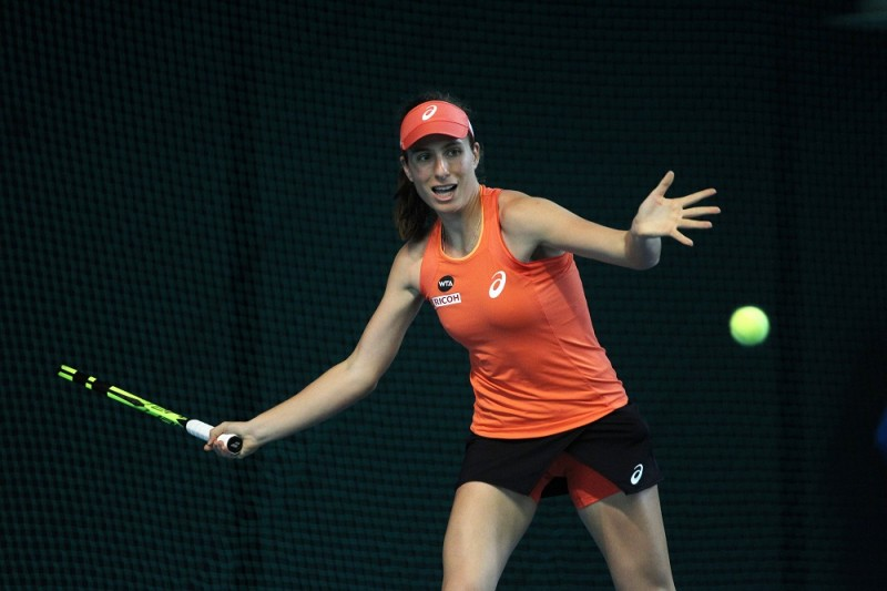 SHENZHEN, CHINA - JANUARY 05:  Johanna Konta of Great Britain returns a shot during the match against Qiang Wang of China during Day 3 of 2016 WTA Shenzhen Open at Longgang Sports Center on January 5, 2016 in Shenzhen, China.  (Photo by Zhong Zhi/Getty Images)