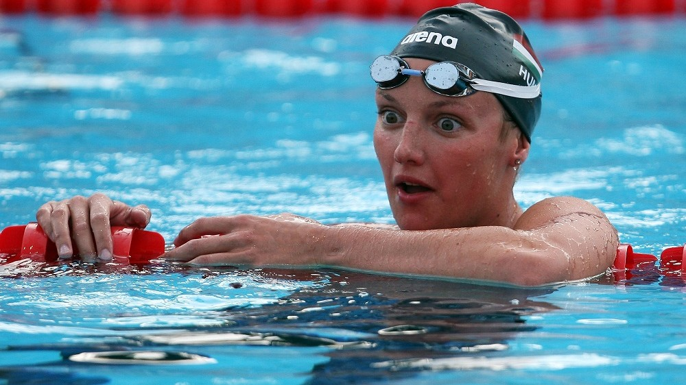 ROME - AUGUST 02:  Katinka Hosszu of Hungary celebrates victory in the Women's 400m Individual Medley Final during the 13th FINA World Championships at the Stadio del Nuoto on August 2, 2009 in Rome, Italy.  (Photo by Lars Baron/Bongarts/Getty Images)