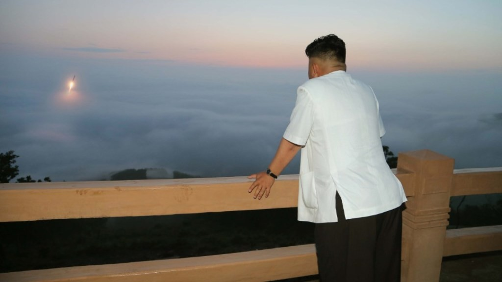 Image #: 30519199    (140630) -- PYONGYANG, June 30, 2014 (Xinhua) -- Photo provided by DPRK's official news agency KCNA on June 30, 2014 shows top leader of the Democratic People's Republic of Korea (DPRK) Kim Jong Un overseeing a tactical rocket firing drill of the DPRK military. The DPRK has launched precision guided missiles and fired shells with dispersion effect for striking both individual and group targets of the enemy in the drill, said the KCNA.  (Xinhua/KCNA)       XINHUA /LANDOV