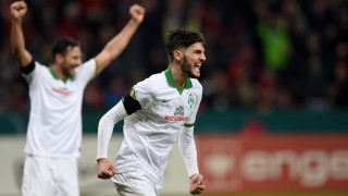 Bremen's midfielder Florian Grillitsch celebrates during the German Cup ( Pokal ) quarter final football match Bayern 04 Leverkusen v SV Werder Bremen on February 9, 2016 in Leverkusen. / AFP / PATRIK STOLLARZ / RESTRICTIONS: ACCORDING TO DFB RULES IMAGE SEQUENCES TO SIMULATE VIDEO IS NOT ALLOWED DURING MATCH TIME. MOBILE (MMS) USE IS NOT ALLOWED DURING AND FOR FURTHER TWO HOURS AFTER THE MATCH. == RESTRICTED TO EDITORIAL USE ==  FOR MORE INFORMATION CONTACT DFB DIRECTLY AT +49 69 67880  /