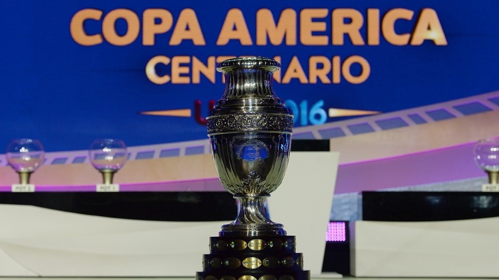 The trophy of the Copa America Centenario 2016 championship is pictured at the end of the official draw at the Hammerstein Ballroom in New York on February 21, 2016.   The Copa America Centenario, a once-in-a-lifetime soccer summer event, which honors 100 years of the Copa America tournament, will take place in the US from June 3-26, 2016. / AFP / Mladen ANTONOV