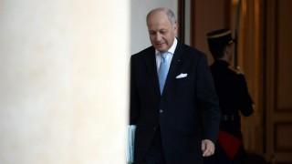 """French Foreign Affairs Minister Laurent Fabius walks through the entrance hall of the Elysee palace following the weekly cabinet meeting on February 10, 2016. Fabius said on February 10 he was leaving the government. Fabius, whose departure has long been rumoured, replied """"yes"""" when journalists asked if he was taking part in his final cabinet meeting on after four years in the job. AFP PHOTO  / STEPHANE DE SAKUTIN / AFP / STEPHANE DE SAKUTIN"""