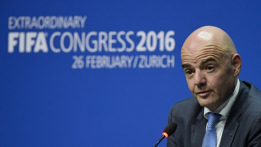 New FIFA president Gianni Infantino holds his first press conference following his election in Zurich on February 26, 2016.  AFP PHOTO / OLIVIER MORIN / AFP / OLIVIER MORIN
