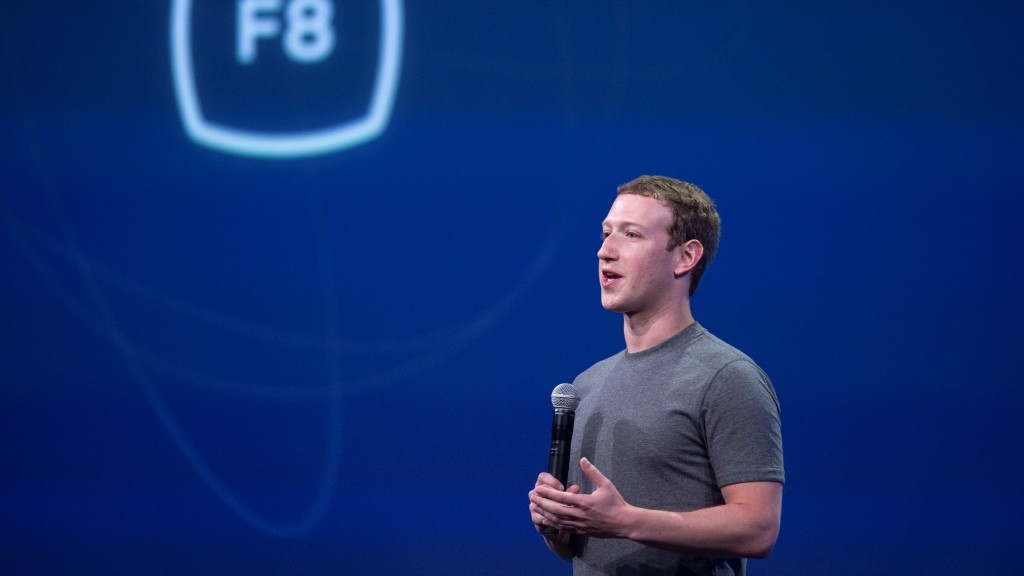 Facebook CEO Mark Zuckerberg speaks at the F8 summit in San Francisco, California, on March 25, 2015. Zuckerberg introduced a new messenger platform at the event.   AFP PHOTO/JOSH EDELSON / AFP / Josh Edelson