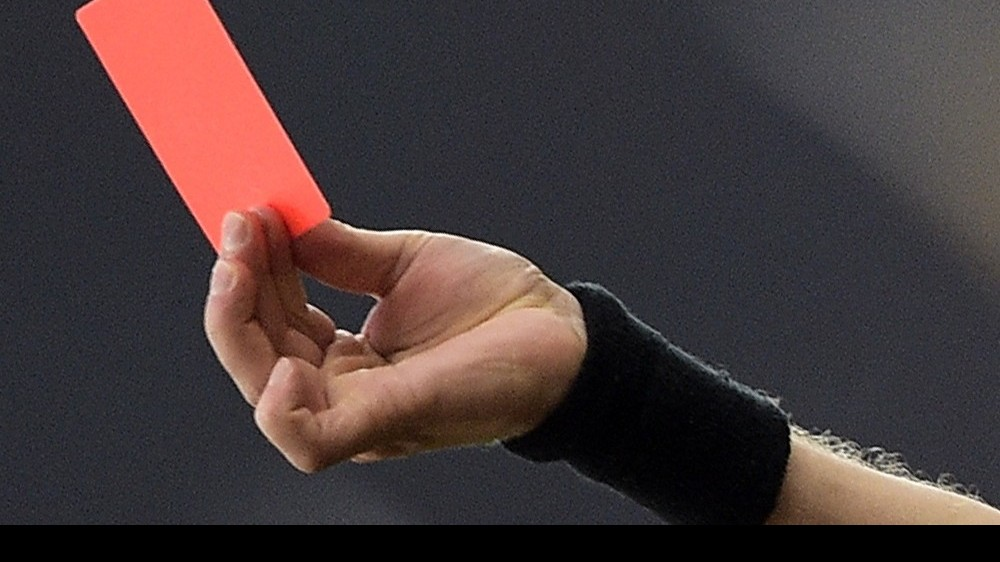20151213 - LIEGE, BELGIUM: Illustration picture shows a red card during the Jupiler Pro League match between Standard de Liege and Club Brugge, in Liege, Sunday 13 December 2015, on the 19th day of the Belgian soccer Championship. BELGA PHOTO YORICK JANSENS