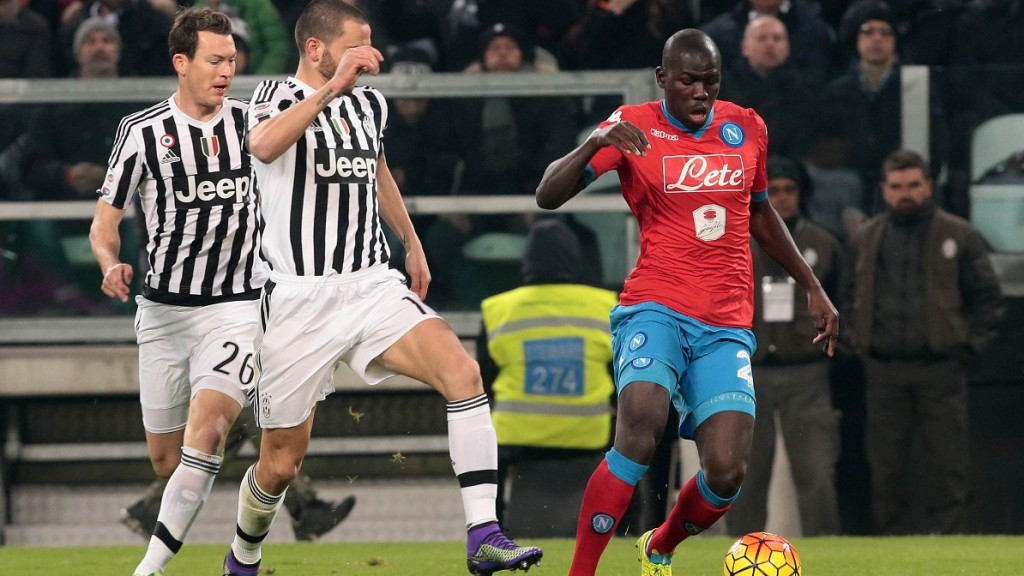 Napoli's player Koulibaly vies with Juventus' player Bonucci during the Italian Serie A football match between SSC Napoli and FC Juventus at Juventus Stadium in Turin on February 13, 2016. PH. CONTROLUCE/ PIETRO MOSCA