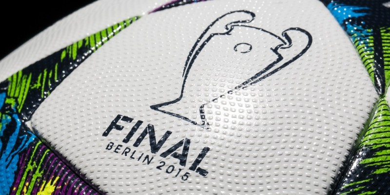 HANDOUT - A handout picture made available on 16 February 2015 by Adidas shows the 'Finale Berlin,' the official ball of the single elimination tournament and finale of the UEFA Champions League. The UEFA Champions League takes place in Berlin on 06 June 2015. Photo: ADIDAS/dpa (ATTENTION: Editorial use only and with mandatory source credit: 'Photo: adidas/dpa')