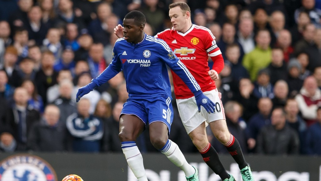 Kurt Zouma of Chelsea and Wayne Rooney of Manchester United during the English championship Premier League football match between Chelsea and Manchester United on February 7, 2016 played at Stamford Bridge Stadium in London, England - Photo Ben Queenborough / Backpage Images / DPPI
