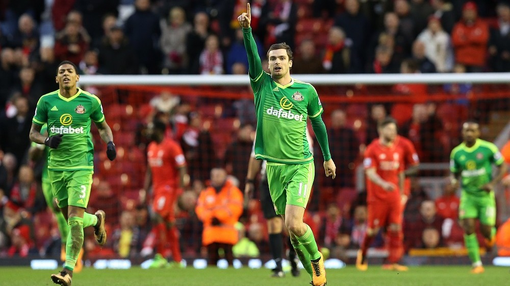 Adam Johnson celebrates scoring his sides first goal during the Barclays Premier match between Liverpool and AFC Sunderland played at Anfield, Liverpool on February 6th 2016. 2-1 - Photo Paul Greenwood / BPI / DPPI