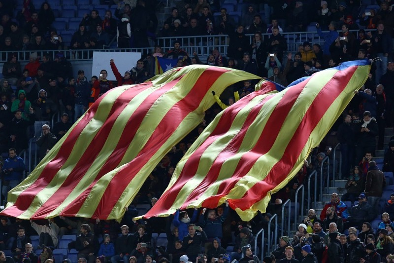 "Giants ""Esteladas"" pro-independent Catalonia flags are pictured during the UEFA Champions League, Group E, football match between FC Barcelona and AS Roma on November 24, 2015 at Camp Nou stadium in Barcelona, Spain. Photo: Manuel Blondeau/AOP Press/DPPI"